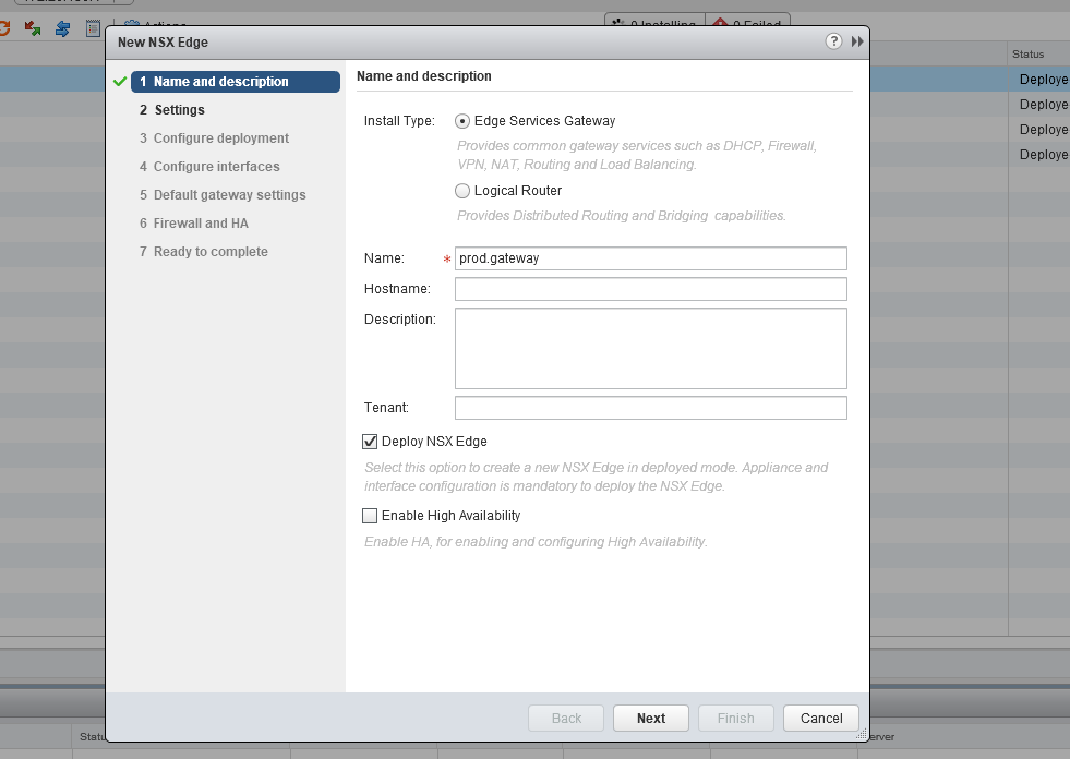 Install an NSX Edge (and a logical router)